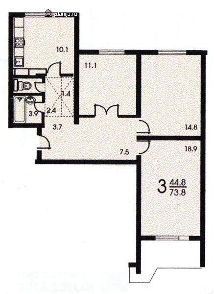 3-х комнатная квартира в ангеловом переулке urban-realty.ru.